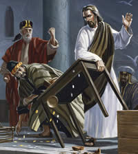Jesus drives out the money changers.