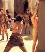 What did Jesus do to deserve a Roman whipping?