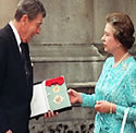 U.S. President Ronald Reagan knighted by queen, a subject of British monarchs.
